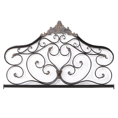 Baroque Style Oil Rubbed Bronze Finish Metal Queen Size Headboard