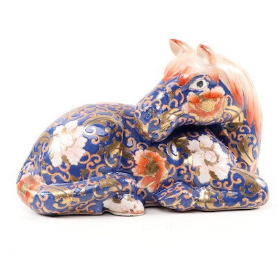 Chinese Enamel and Gilt Porcelain Horse Figurine, Late 20th Century