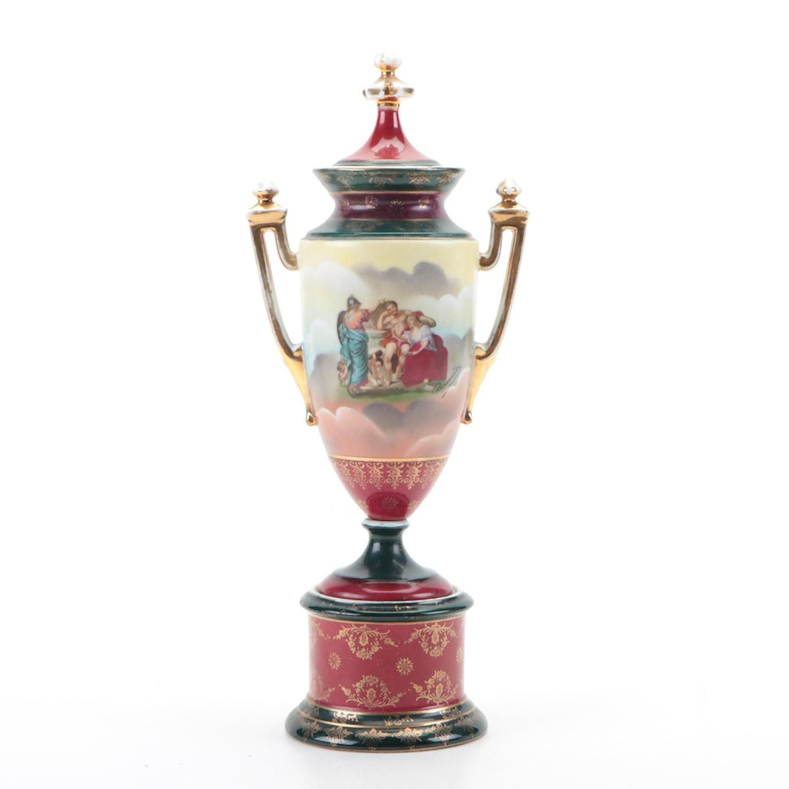 Decorated Porcelain Urn Possibly Royal Vienna,  Early 20th C.