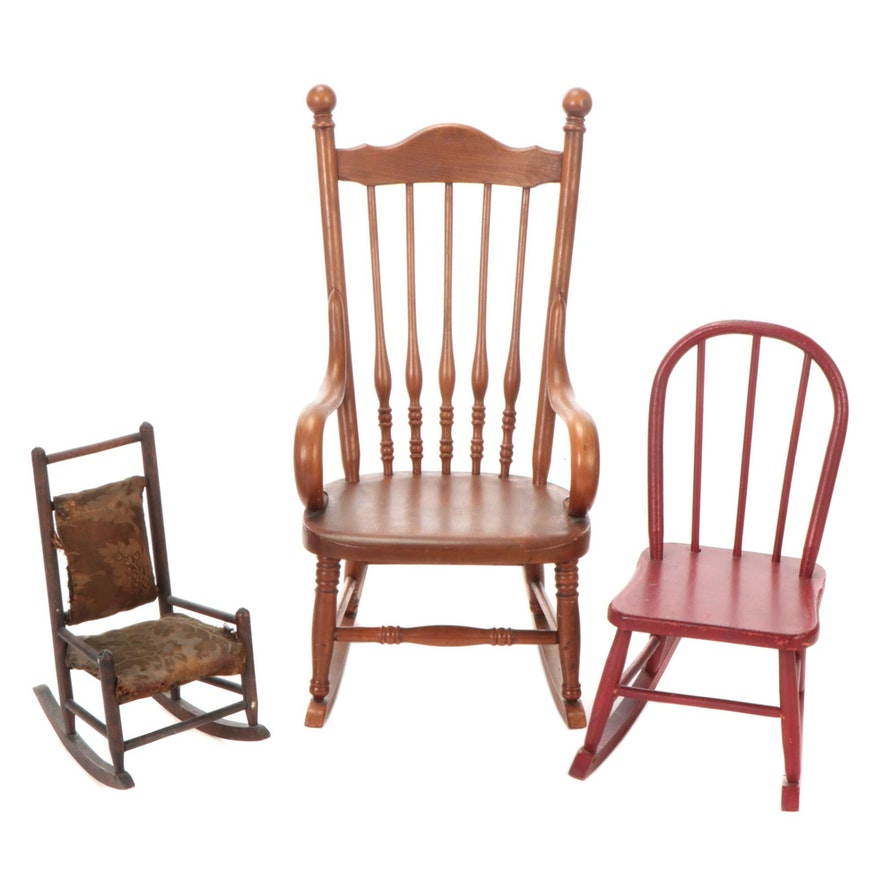 Child's Painted and Spindle-Back Rocking Chairs with Primitive Doll-Size Rocker