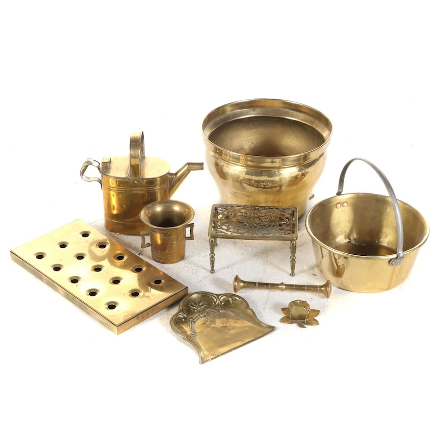 Brass Mortar and Pestal, Planter, Water Can and More