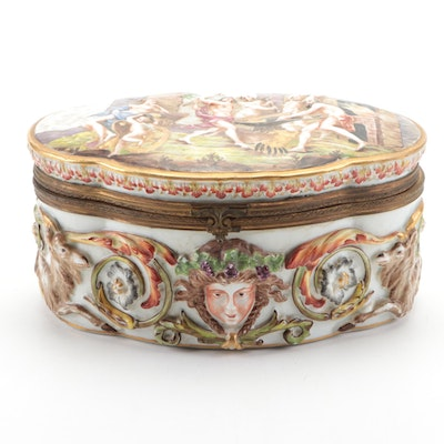 Ernst Bohne Sons German Porcelain Box, Early 20th Century