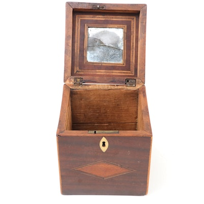 George III Satinwood Inlaid Mahogany Box with Mirror, 19th Century