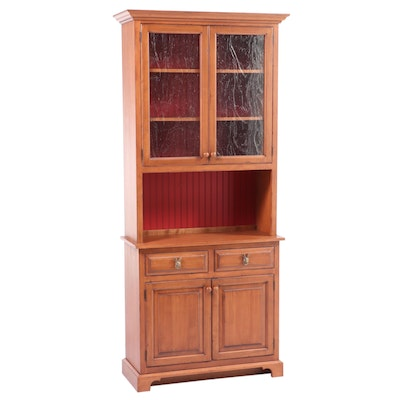 Walnut-Stained and Parcel-Painted Wood Step-Back Cupboard