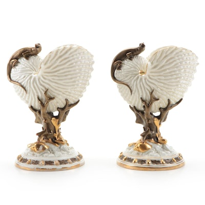 Royal Worcester Porcelain Nautilus Shell and Lizard Vases, 1883