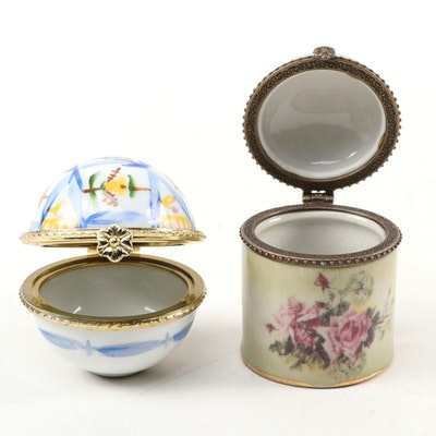 Limoges Porcelain Rolled Stamp Holder and Trinket Box