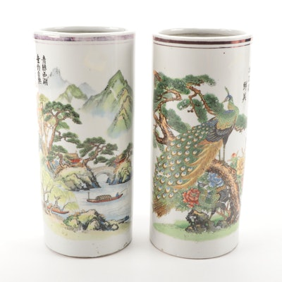 Chinese Porcelain Hat Stand Vases with Pictorial Scenes and Hànzi