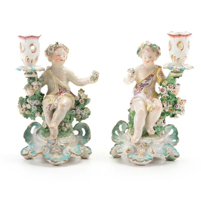Baroque Revival Porcelain Putti Candlesticks, Late 19th Century