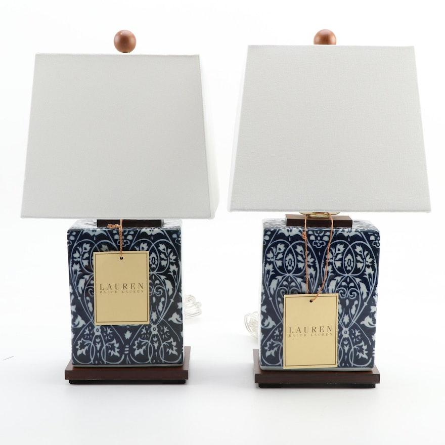 Pair of Ralph Lauren Blue and White Arabesque Motif Ceramic Table Lamps
