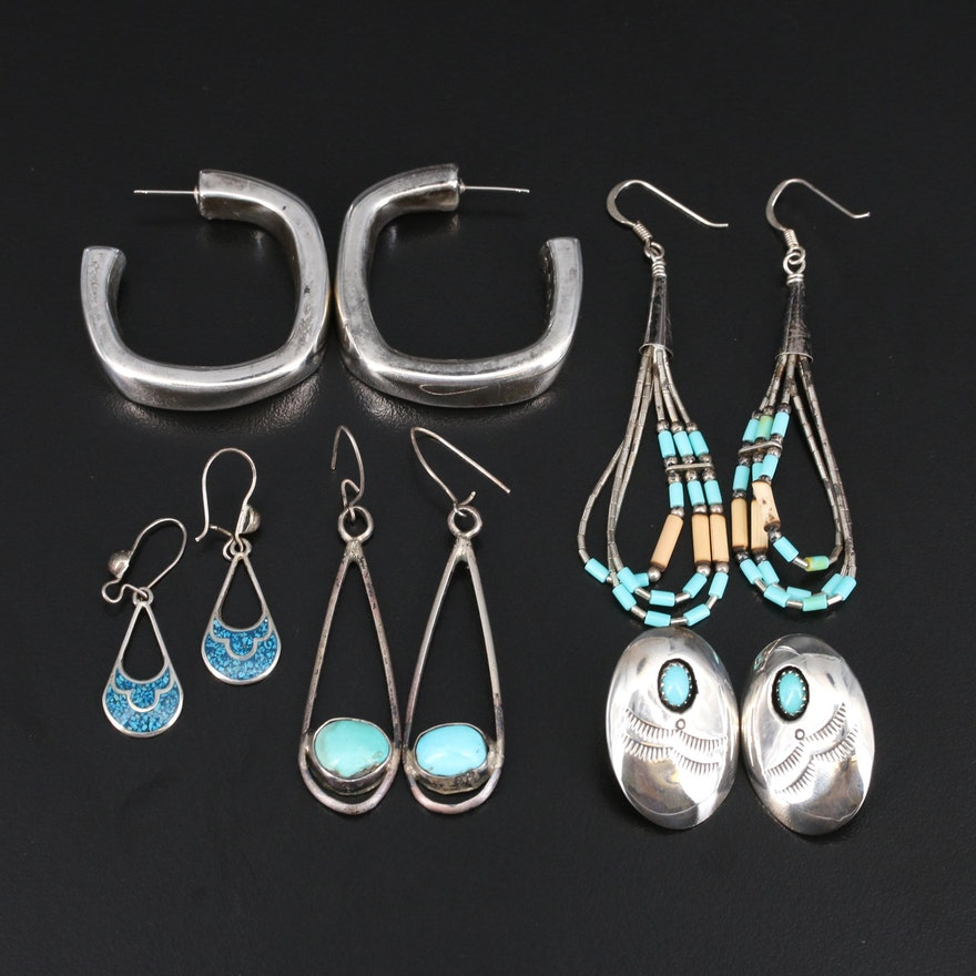 Sterling Earrings Featuring Turquoise and Signed Southwestern Button Earrings
