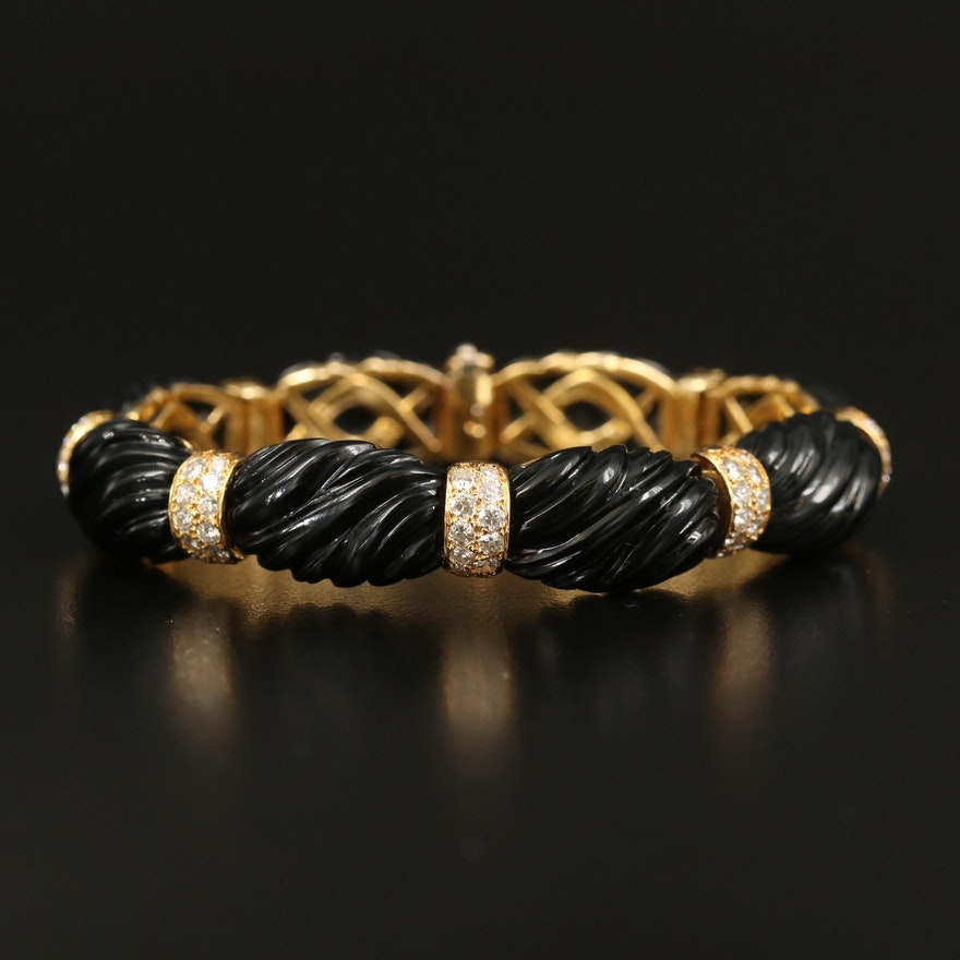 18K 2.51 CTW Diamond and Black Onyx Bracelet