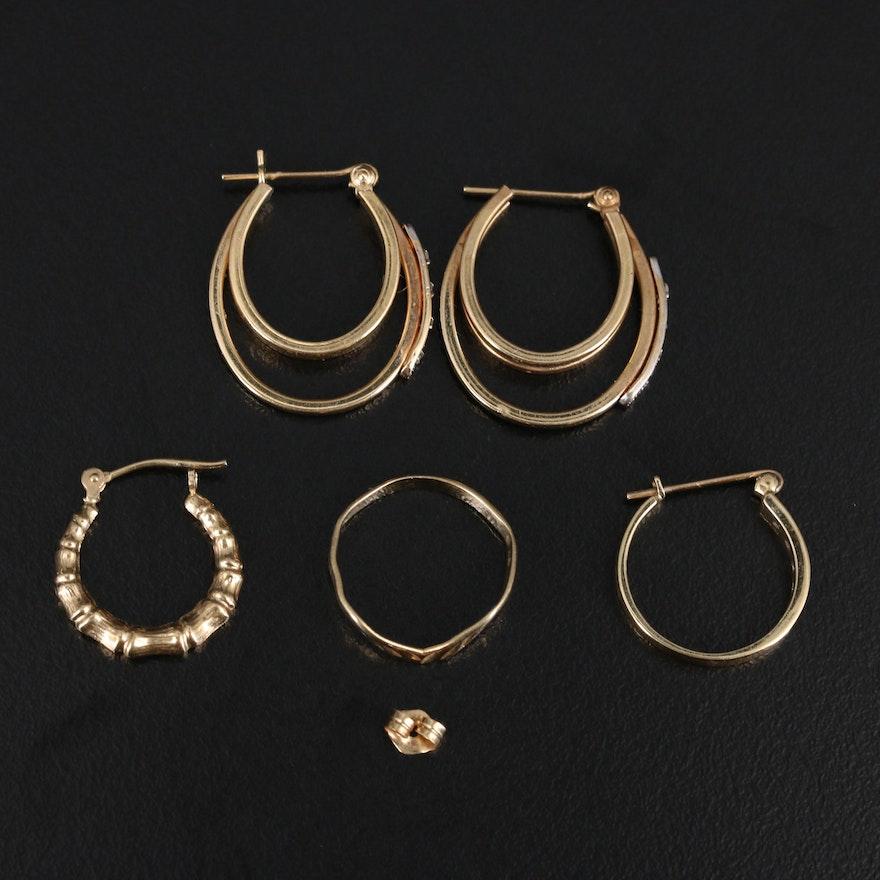 10K and 14K Scrap Including Ring, Hoop Earrings and Diamonds