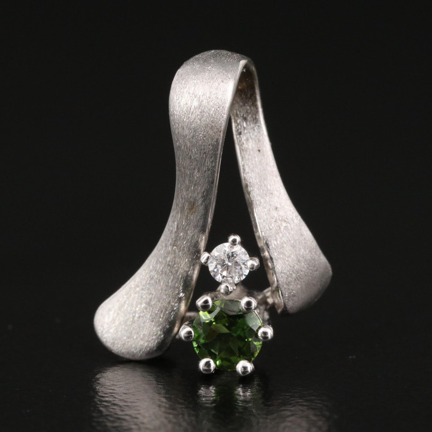 14K Diopside and Diamond Pendant