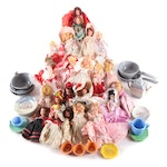 """Nancy Ann """"Story Book"""" Dolls with Lusterware Tea Set and More, Mid-20th Century"""
