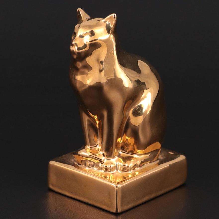 "Rookwood ""Golden Cat"" Limited Edition 24K Gold Finish Ceramic Figurine, 1989"