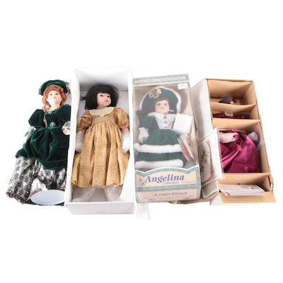 "Ashton-Drake ""Gibson Girl"" with Other Porcelain Dolls, Late 20th Century"