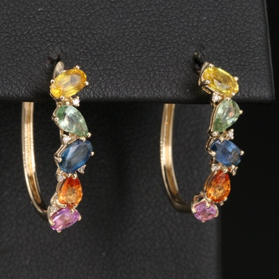 EFFY 14K Multi-Color Sapphire and Diamond Hoop Earrings