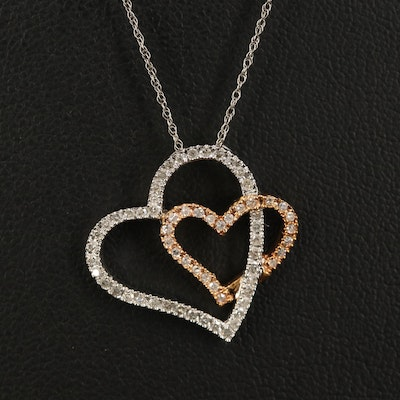 14K Two-Tone Diamond Heart Pendant with 10K Chain Necklace