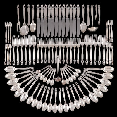 "Georg Jensen ""Acorn"" Sterling Silver Flatware and Serving Utensils"