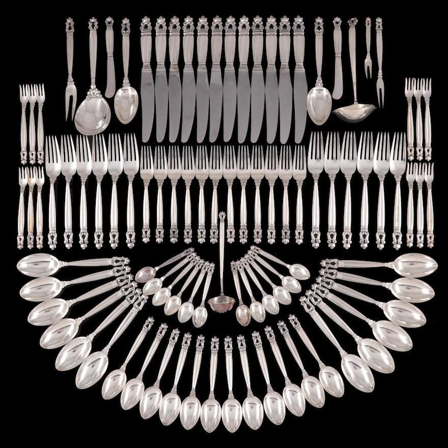 "Georg Jensen ""Acorn"" Sterling Silver Flatware and Serving Utensils"