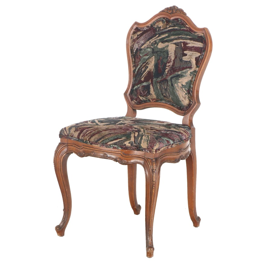 French Provincial Style Fruitwood-Stained Side Chair, 20th Century