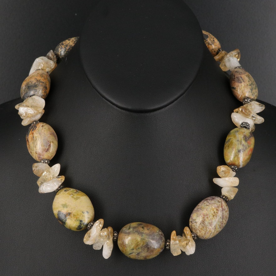 Jasper and Quartz Bead Necklace with Sterling Clasp