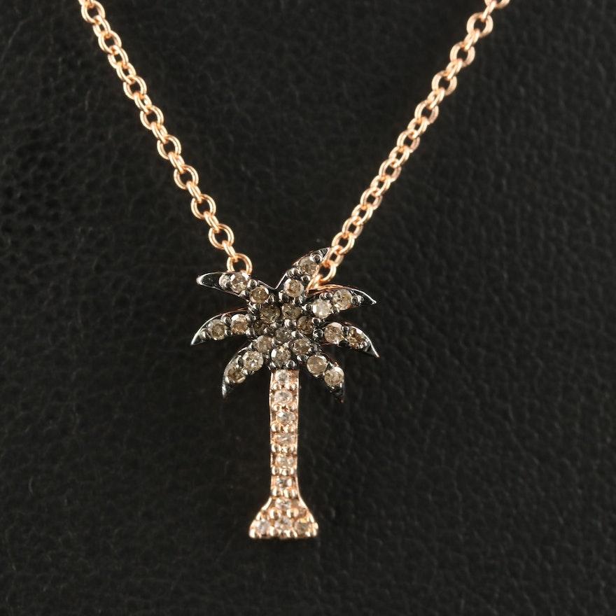 EFFY 14K Diamond Palm Tree Pendant Necklace