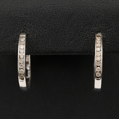 10K Diamond Hoop Earrings
