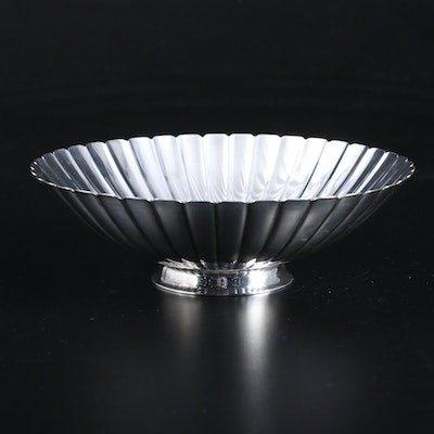 Sigvard Bernadotte for Georg Jensen Sterling Silver Fluted Strawberry Bowl