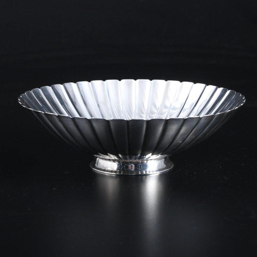Sigvard Bernadotte for Georg Jensen Sterling Silver Fluted Strawberry Bowl