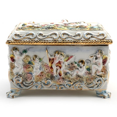 Capodimonte Italian Ceramic Footed Casket, Mid to Late 20th Century