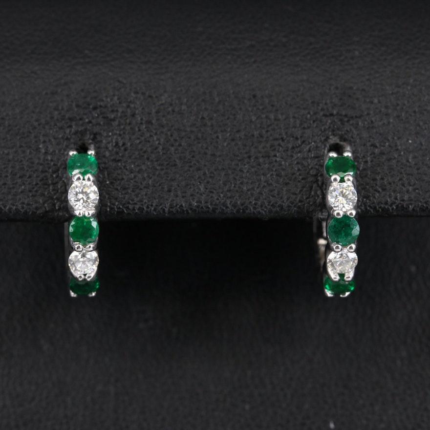 EFFY 14K Emerald and Diamond Huggie Earrings