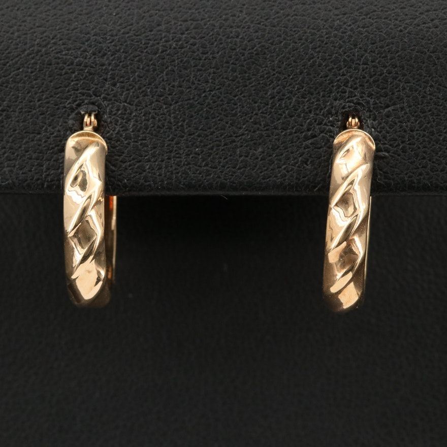14K Italian Twisted Oval Hoop Earrings