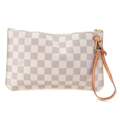 Louis Vuitton Neverfull Pochette in Damier Azur with Vachetta Leather Strap