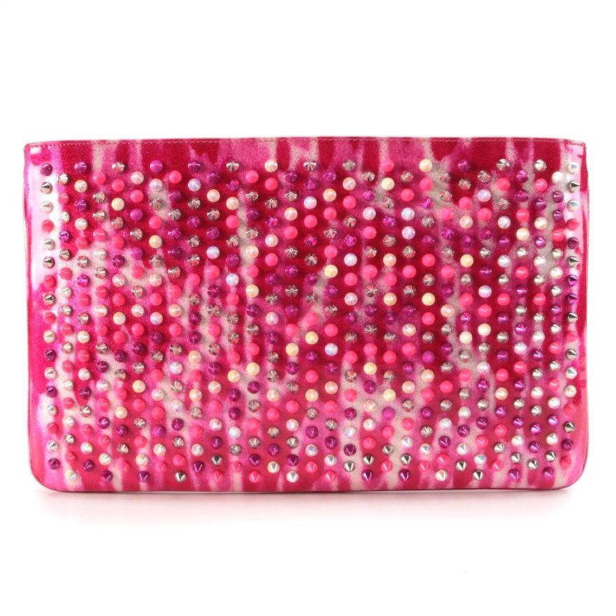 Christian Louboutin Loubiposh Studded Glitter Pink Patent Leather Clutch