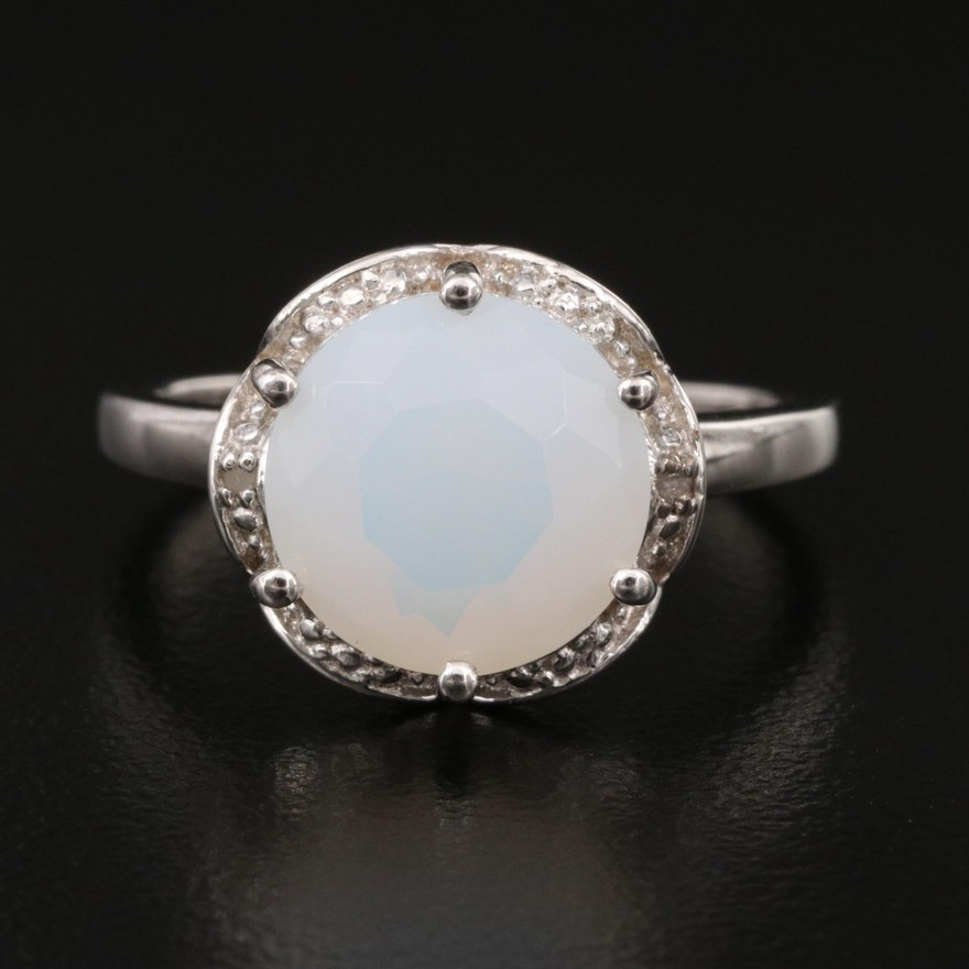 Sterling Opal and Diamond Halo Ring with Scalloped Edges