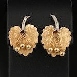 Vintage 18K Italian Two-Tone Gold Leaf Clip Earrings