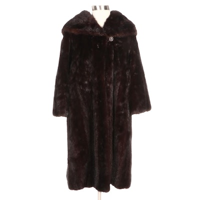 Mahogany Mink Fur Swing Coat with Shawl Collar by Hoffman-Morton
