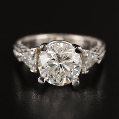 Platinum 4.76 CTW Diamond Ring with GIA Report and Lighted Ring Box