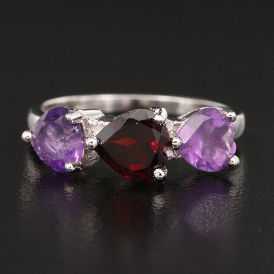 Sterling Amethyst and Garnet Heart Band