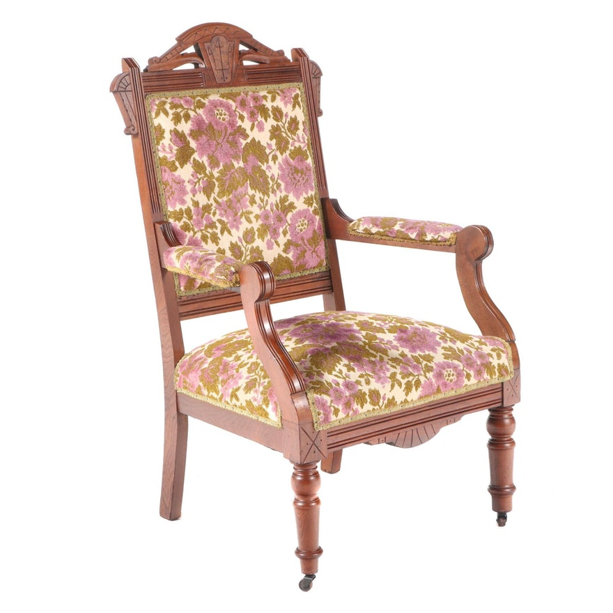 American Renaissance Revival Walnut and Burl Walnut Parlor Chair