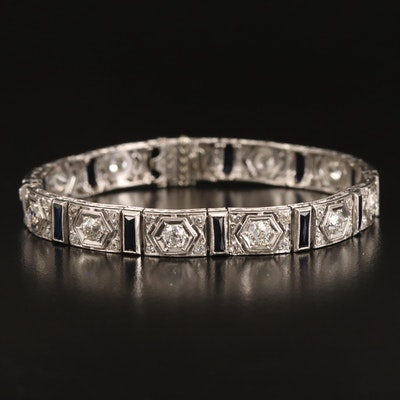 Art Deco Platinum 4.48 CTW Diamond and Sapphire Bracelet