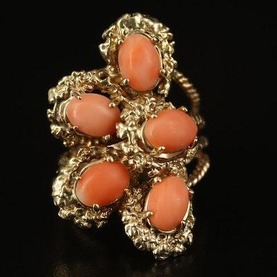 Vintage 14K Coral Openwork Ring