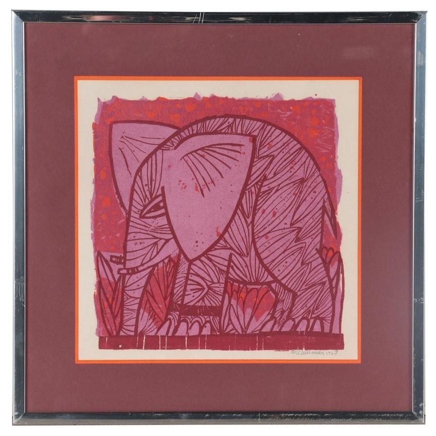 David Weidman Serigraph of Elephant, 1967