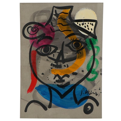 Peter Keil Abstract Mixed Media Portrait, 1965