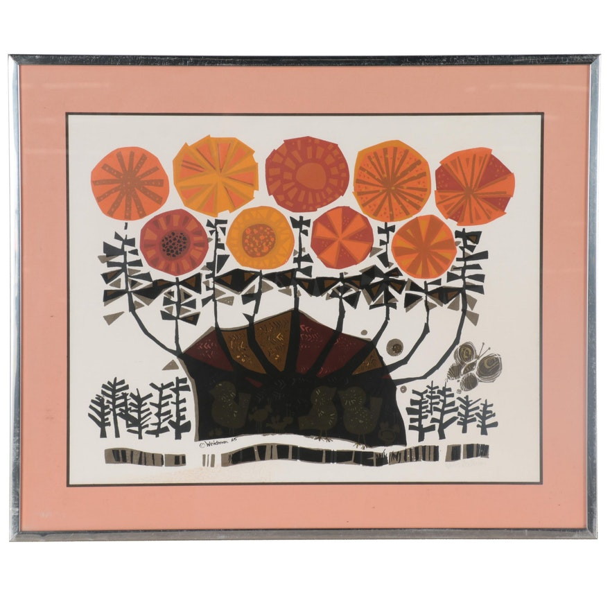 """David Weidman Serigraph """"Flowers,"""" circa 1965"""