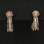 Belcher 14K Diamond Floral Stud Earrings with  J Hoop Enhancers