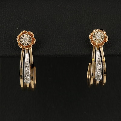 Belcher 14K Diamond Floral Stud Earrings with  J Hoop Enhancers