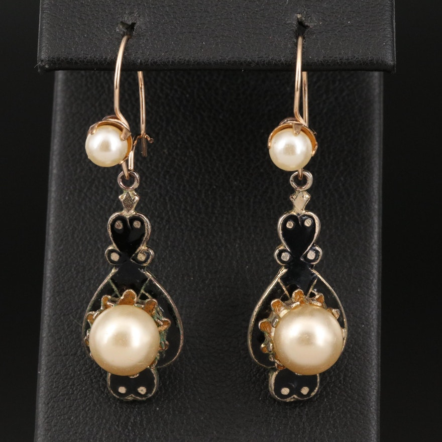 Vintage Imitation Pearl and Enamel Drop Earrings with 10K Accents