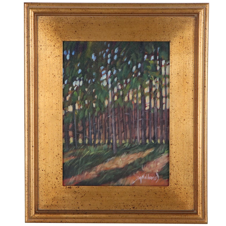 """Jay Wilford Oil Painting """"Stand of Pine,"""" 21st Century"""